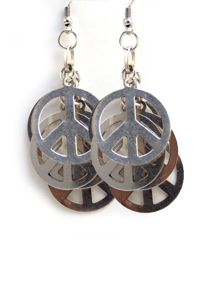 Boucles d 39 oreilles metal peace and love multiples - Boucle d oreille peace and love ...