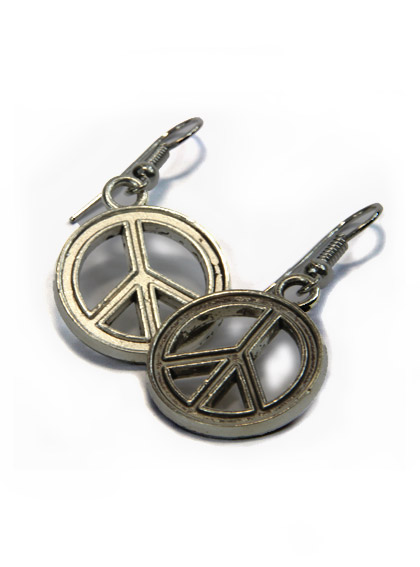 Boucles d 39 oreilles fantaisie peace and love pendantes 2cm - Boucle d oreille peace and love ...