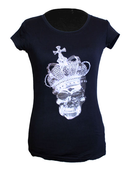 tee shirt femme noir skull queen tete de mort et couronne. Black Bedroom Furniture Sets. Home Design Ideas